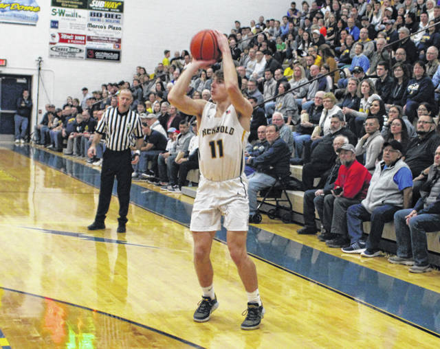 Elijah Zimmerman of Archbold fires up a three from the left wing during Thursday's NWOAL opener against Wauseon. Zimmerman scored a game-high 13 points, all in the second half, as the Blue Streaks dispatched of the Indians 38-32 in overtime.