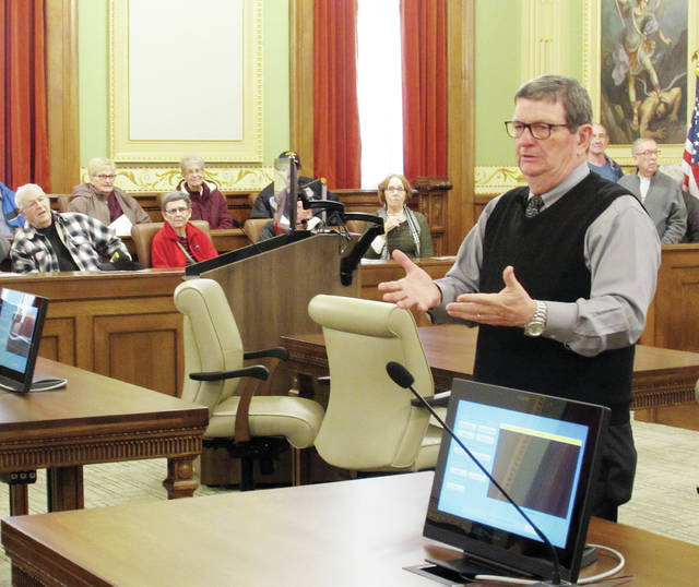Fulton County Common Pleas Court Judge Jeffrey Robinson regaled courthouse visitors Monday with facts and stories about the courtroom and its recent renovation.