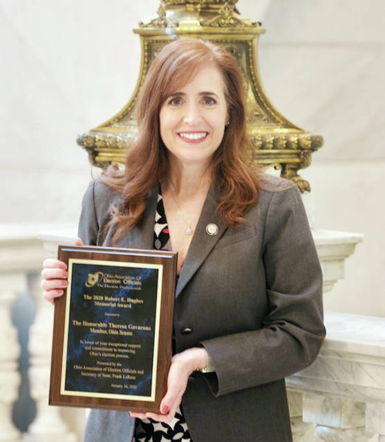 District 2 State Senator Theresa Gavarone (R-Bowling Green) has been named Legislator of the Year by the Ohio Association of Election Officials. Gavarone accepted the award at OAEO's annual conference in Columbus. The award is given annually to one Republican and one Democrat who have demonstrated a high interest in election policy, have had significant influence on elections legislation, and have worked closely with local election officials to craft meaningful election reforms. Gavarone represents a portion of Fulton County.