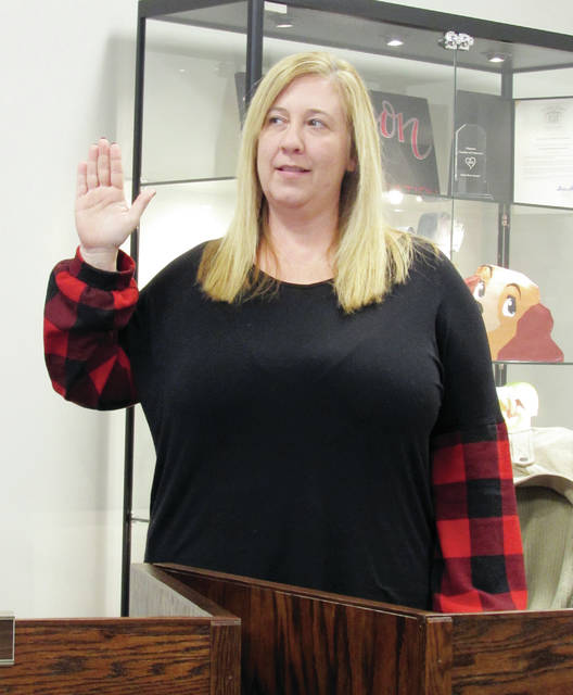 Wauseon Board of Education member Stacia Radabaugh took an oath Monday as vice president.