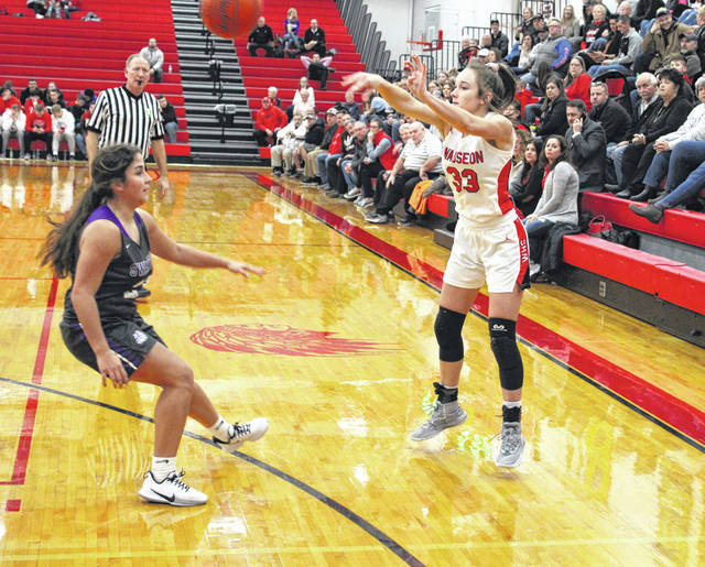Sam Aeschliman of Wauseon dumps one in the post during Thursday's NWOAL contest against Swanton. The Indians moved to 4-1 in league play with a 43-35 win over the Bulldogs.