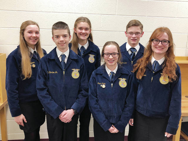 Pettisville FFA members participating in public speaking included - from, from left - Clark Bartoe Jr, Emma Salmi, Kearsten Zuver - back, from left - Ava Hoylman, Clara Damman, and Luke VanDenBerghe.