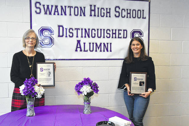 Tamara Bloom George, left, and Lila Synder, the newest inductees in the Swanton Distinguished Alumni Hall of Fame were honored at a luncheon Friday at Swanton High School