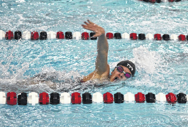 Wauseon's Myley McGinnis-Marshall swims in the 200-yard freestyle at an earlier home meet this season. McGinnis-Marshall qualified for the district meet in the 200 freestyle and 100 butterfly this past weekend at the sectional.