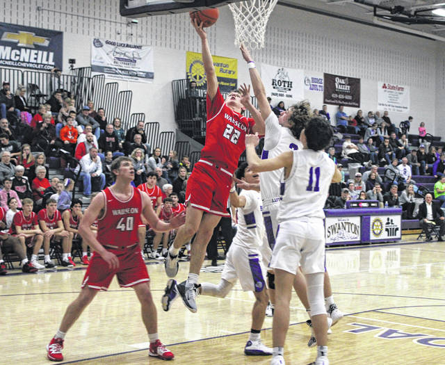 Connar Penrod with a drive and layup for Wauseon during Friday's NWOAL meeting with Swanton. He finished with 14 points in the Indians' 47-38 win.