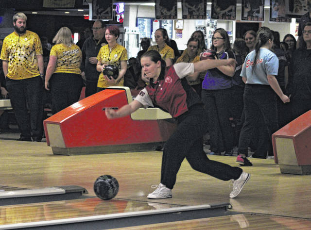 Rachel Carr of Wauseon in action on Saturday during the Division II Sectional Bowling Tournament at River City Bowl-A-Way in Napoleon. She was the sectional champion with a 609 series, helping the Indians finish second as a team and qualify for the district.