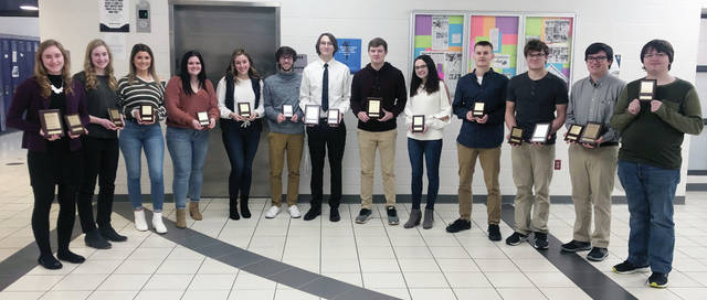Swanton regional BPA placers, from left, are Alexis Bergman, Olivia Bergman, Madison Walters, Madison Stout, Samantha Taylor, Cole Mortemore, Bruce Vidak, Brady Lemons, Alexia Westhoven, Mason Sullivan, Xavier Wiemken, Ean Comstock and Noah Reiter. Lemons, Walters, Comstock, Wiemken, Vidak and Sullivan will be competing at the Ohio State Business and Professionals of America contest March 12-13 for a chance to represent the state of Ohio at the national level this spring in Washington DC. Overall, Swanton students captured 17 awards.