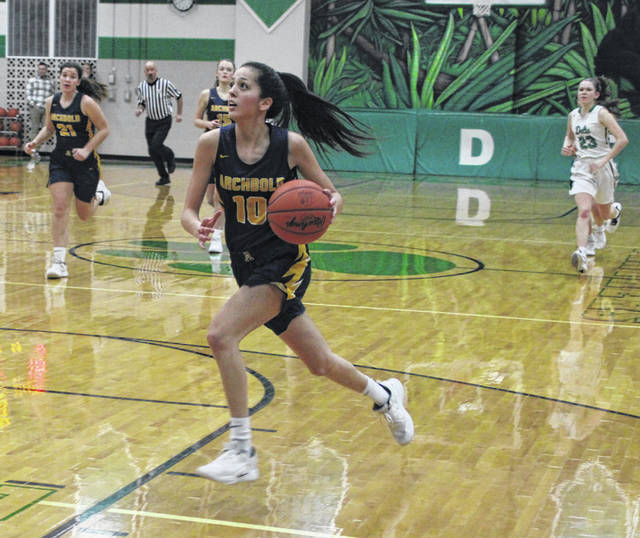 Naomi Rodriguez of Archbold works the ball up the floor during Thursday's NWOAL contest at Delta. The Blue Streaks took down the Panthers, 33-32, with the help of Karsyn Hostetler's 3-pointer in the closing seconds.