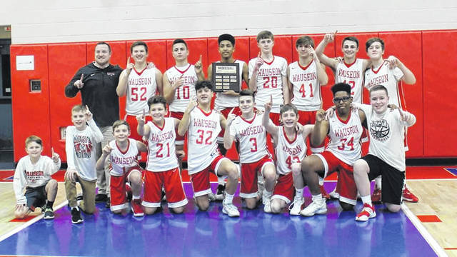 Earlier this month the Wauseon 8th grade boys basketball team defeated Archbold 28-27 in a double overtime game to win their second straight NWOAL title. They finish their middle school careers with a record of 37-0. On the team are Elijah McLeod, Levi Tester, Gavin Gerig, Tyson Rodriguez, Trey Parsons, Braden Vajen, Roger Adams, Kaiben Coopman, Jamison Knight, Xavier Martinez, Logan Patterson, Zach Puehler and Gavin Van Dielen. The team is coached by Mike Webster.