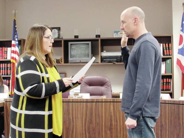 Wauseon Mayor Kathy Huner swore in Patrick Griggs as the newest City Council member at Monday's meeting.