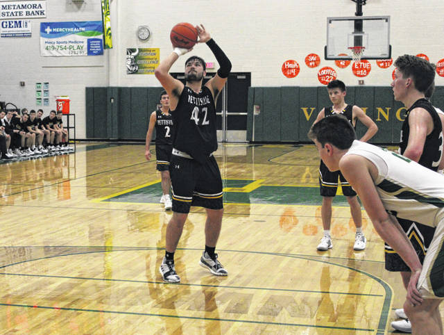 Pettisville's Graeme Jacoby hits a free throw versus Evergreen. Jacoby was named the Buckeye Border Conference Player of the Year.