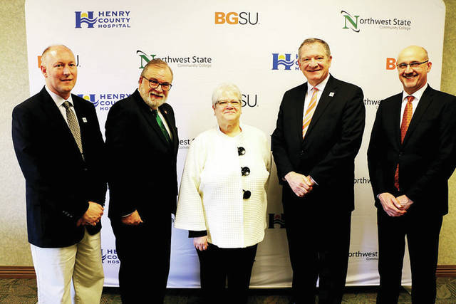 Participants in the signing included, from left, NSCC Vice President of Academics Dr. Dan Burklo, NSCC President Dr. Michael Thomson, Henry County Hospital CEO Kim Bordenkircher, BGSU President Dr. Rodney Rogers, and BGSU College of Health and Human Services dean Dr. Jim Ciesla.