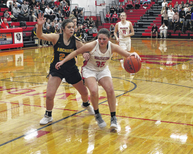 Sydney Zirkle of Wauseon drives on Addison Ziegler of Archbold in a NWOAL game this season. Zirkle was first team All-District 7 in Division II, while Ziegler made honorable mention in Division III.