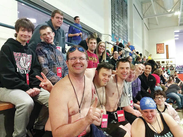 The Fulton County Jaguars recently competed in the Special Olympics Ohio State Winter Games at Bowling Green State University. The Jaguars won various medals including gold from Dillon Hayward of Wauseon, Mary Cole of Swanton, Aric Gurzynski of Wauseon, and Hannah Shotwell of Delta. Pictured are - top row - Coach Koelton Fenton - first row, from left - Dillon Hayward of Wauseon, Braydon Ringle of Swanton, Aric Gurzynski of Wauseon, Coach Tanja Ringle - second row, from left - Roger Wolfram of Wauseon, Nick Denn of Archbold, Nick Weigand of Archbold, Joel Reinking of Wauseon, Andy Dietz of Archbold, Coach Celia Wilson - third row, from left - Mary Cole of Swanton, Hannah Shotwell of Delta. Not pictured: Coach Annette Shotwell.