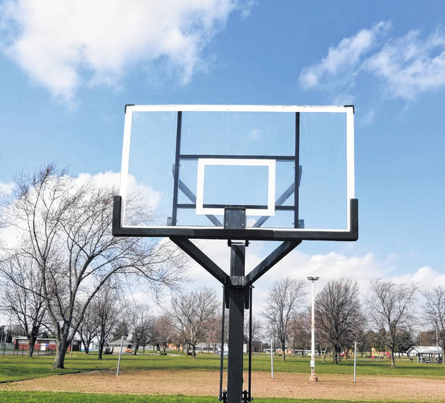 The basketball hoops have been taken down at Delta Municipal Park in an effort to keep the public from gathering together at this time.