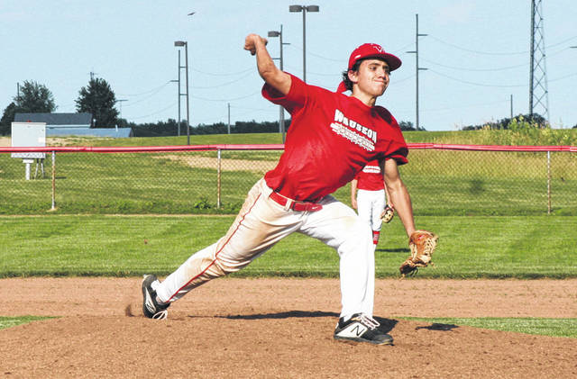 Wauseon's Easton Delgado pitches in an ACME baseball game last summer. It was announced earlier this week that the ACME season has been canceled in 2020.