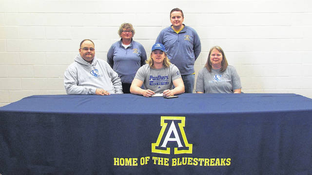 Matthew Gladieux of Archbold recently signed a letter of intent to continue his education and track and field career at Eastern Illinois University in Charleston, Illinois. Gladieux was recruited to Eastern Illinois by their throwing coach Noah Castle, a Wauseon alum who was a Division II state runner-up in the discus in 2014. Pictured, front row, from left are Aaron Gladieux (father), Matthew, Dina Gladieux (mother). In the back row are Archbold assistant track and field coaches Pat Leupp and Jake Kraegel.