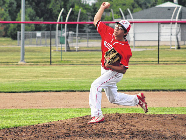 Jaden Conrad started on the mound for the away team during Wauseon baseball's intrasquad game held Thursday evening to honor the program's seniors. Conrad and Jameson Gray's team bested the squad led by fellow seniors Sean Brock and Cody Figy, 7-6 in eight innings.