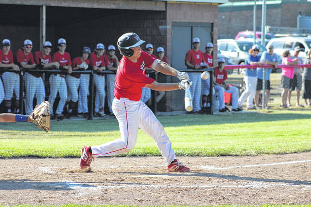 Wauseon's Sam Krasula puts one in play and reaches on a Edon fielding error in the bottom of the first inning of Wednesday's game. The Indians prevailed over the Bombers 7-6.