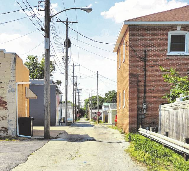 The alley behind businesses on the east side of N. Main Street in Swanton is one of two that will be improved this year.