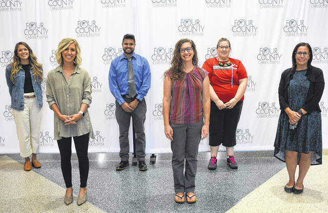 New Four County Career Center staff members are, from left, Aarika Alabata, Karlee Badenhop, Matthew Scarberry, Melissa Nafziger, Brandy Breen, and Joyce Golz.