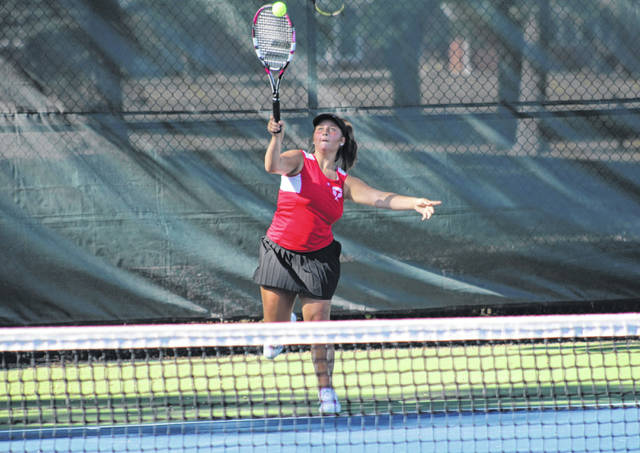 Wauseon's Tatum Barnes serves one up in first singles during Thursday's match against Archbold. She fell to Archbold's Maggie Henry 7-5, 6-4.