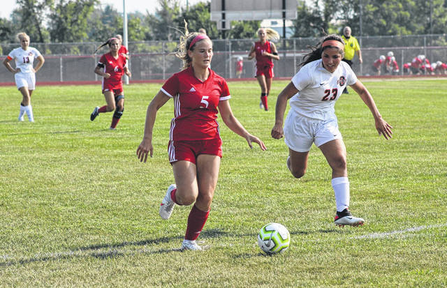 Wauseon freshman Abby Smith gets behind the Otsego defense prior to scoring her second of three goals during Monday's non-league girls soccer game. The Indians shutout the Knights 5-0.