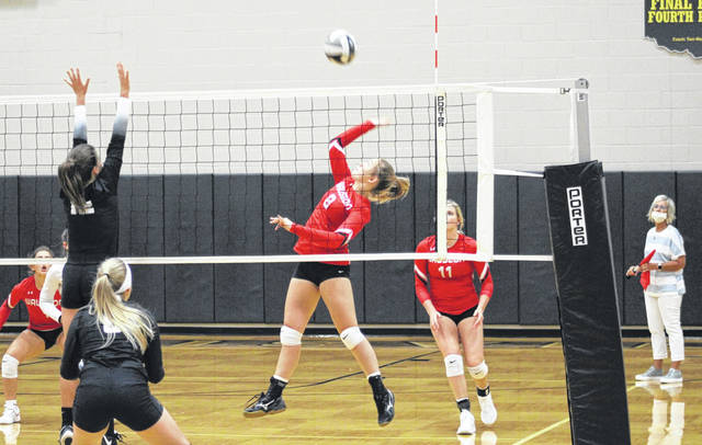Haleigh Wurst of Wauseon hits one over from the left side during Monday's match at Pettisville. The Indians took down the Blackbirds in three sets: 25-19, 25-17, 25-17.