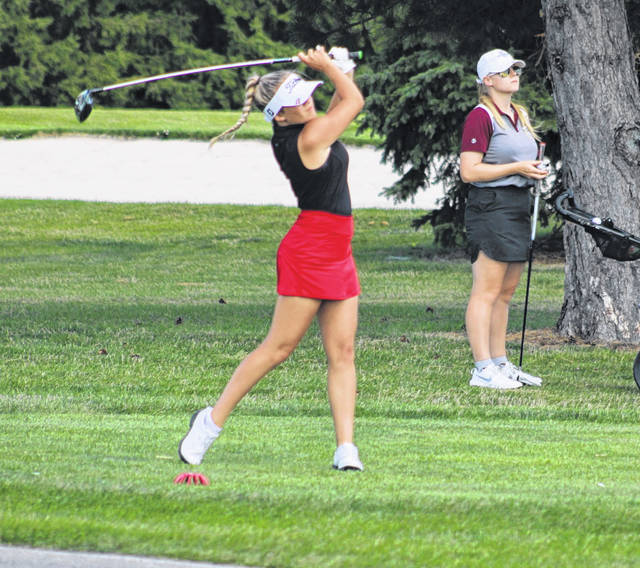 Wauseon's Calaway Gerken with a tee shot during a match from earlier in the season. She held the Indians' best score Tuesday at the Division II girls golf sectional tournament, tying for third with an 88.