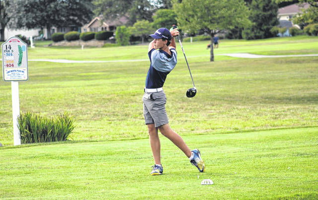 Archbold's Luke Rosebrook tees off at the 14th hole during Thursday's NWOAL tri-match at Ironwood. Rosebrook finished with a 41 to help the Blue Streaks defeat both Swanton and Evergreen.