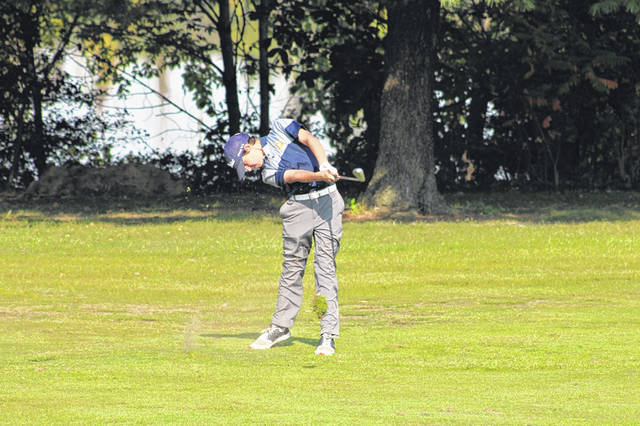 Archbold's Cahle Roth blasts one from the fairway at the fifth hole on Friday. Roth tied for fifth and shot a 78.