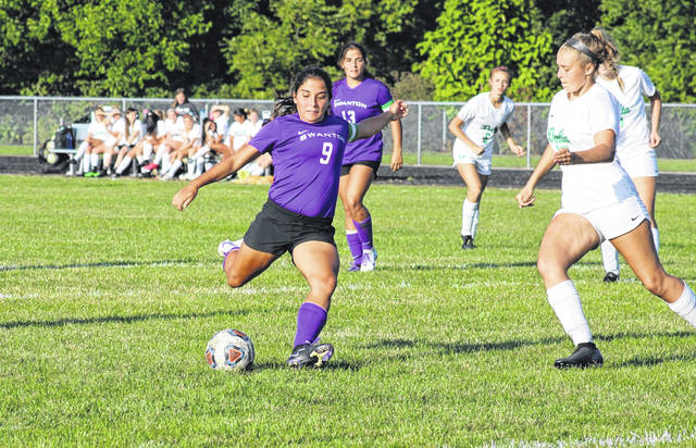 Averie Lutz of Swanton with a shot on goal in a game against Delta this season.