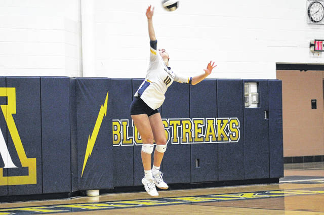 Chaney Brodbeck of Archbold serves one up during Tuesday's NWOAL match against Swanton. She finished with 11 kills and three aces as the Blue Streaks swept the Bulldogs.