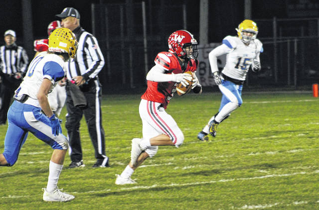Wauseon's Kolton DeGroff gets upfield with a first down catch against Clyde on Saturday.