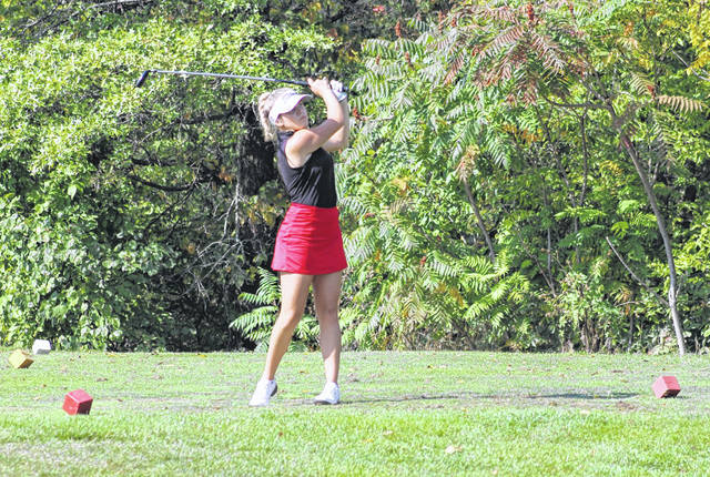 Calaway Gerken of Wauseon watches a tees shot at the NWOAL Girls Golf Tournament back on Sept. 25. On Monday at the Division II girls district tournament at Sycamore Springs, Gerken shot a 93 and the Indians as a team advanced to state with a fourth place finish.