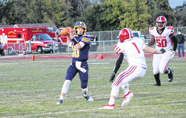 Archbold quarterback DJ Newman throws a pass in this year's Wauseon game. Newman hopes to lead the Blue Streaks to a win over Carey in the third round of the playoffs Saturday night.