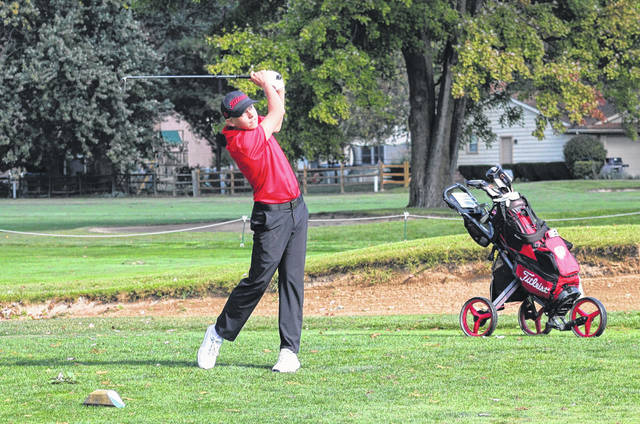 Andy Scherer of Wauseon off the tee during the Division II sectional golf tournament. On Thursday at the district golf tournament in Findlay, Scherer qualified for state individually after tying for sixth place and shooting an 82.