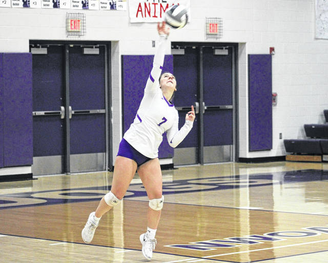 Bailey Arnold of Swanton serves one over during a home match against Wauseon Tuesday, Sept. 29. The Bulldogs dropped the first set to the Indians, but bounced back to win the next three for the NWOAL win.
