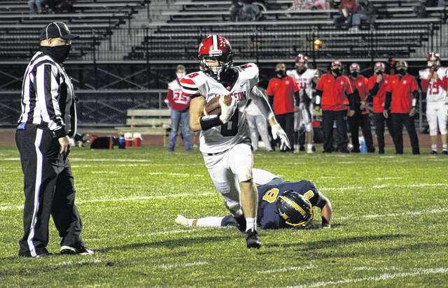 Wauseon's Jude Armstrong races to the end zone for a touchdown in a game against Archbold this season. Armstrong made second team all-district offense for the Indians in Division IV.