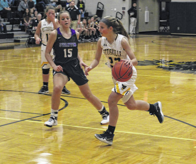Pettisville's Ellie Grieser drives towards the hoop during a game last season. Grieser returns for her sophomore campaign in 2020-21.
