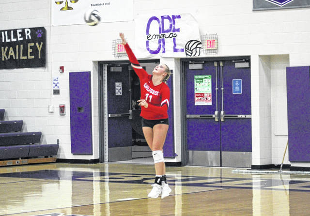Chelsie Raabe of Wauseon with a serve in a match against Swanton this season. She made the All-NWOAL first team for the Indians.
