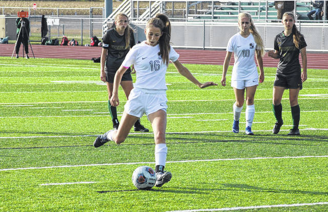 Regan Ramirez scores on a penalty kick for Archbold in a game this season. She was chosen as the NWOAL Player of the Year in girls soccer.