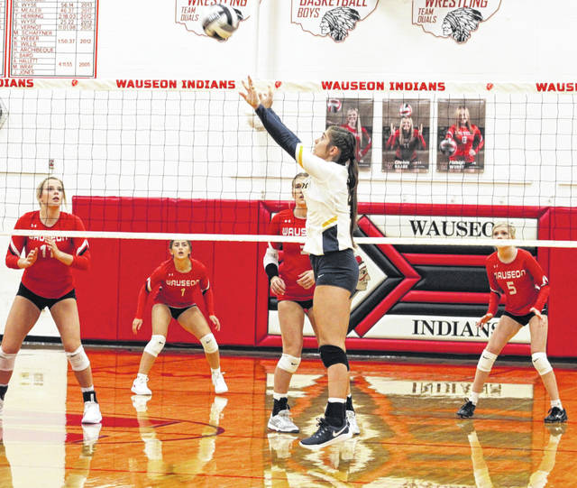 Addi Ziegler of Archbold with a set in a match at Wauseon this season. She was recently selected second team All-District 7.