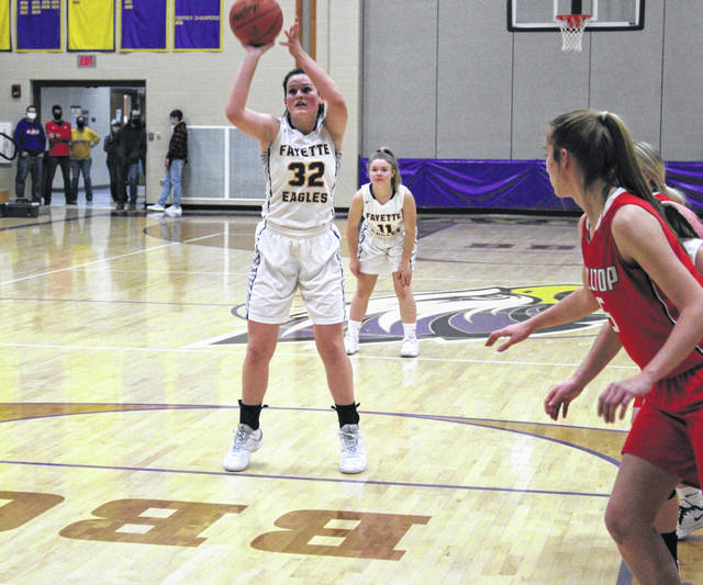Fayette's Trista Fruchey knocks down a pair of free throws in the first half Friday versus Hilltop in Buckeye Border Conference girls basketball action. The Eagles fell to the Cadets, 47-27.
