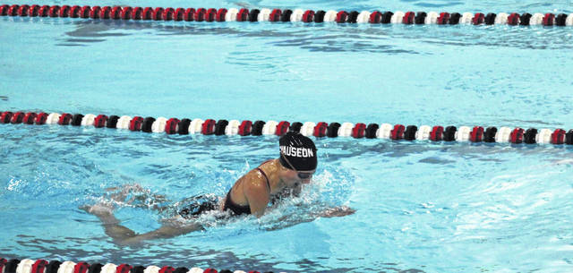 Natalie Kuntz swims for Wauseon in the 100-yard breaststroke Tuesday in the season-opening swim meet versus Ayersville. The Indians swept the Pilots in both the boys and girls meets.