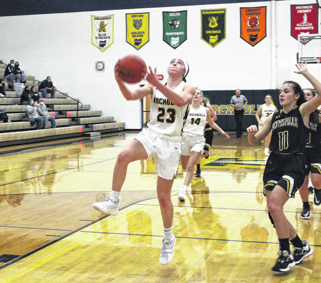 Kylie Sauder of Archbold goes up for a layup during Tuesday's non-league matchup with Pettisville. She scored a game-high 22 points, propelling the Blue Streaks to a 42-point win over the Blackbirds.