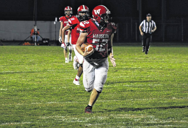 Isaac Wilson of Wauseon runs back an interception during a game at Harmon Field this season. He was recently selected to the Division IV All-Ohio first team as a linebacker.