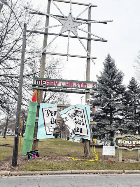 The Christmas decoration at the south end of Fulton Street in Wauseon was damaged Friday.