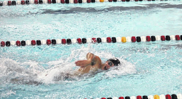 Caden Case of Wauseon swims in the 50-yard freestyle at an earlier meet this season. On Tuesday, he took second in both the 200 and 500-yard freestyle races as both Wauseon swim and dive teams were victorious over visiting Clay.