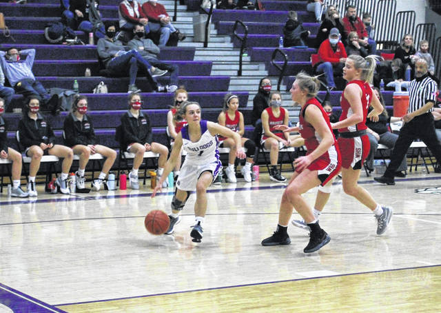 Madalynn Peluso of Swanton dribbles the ball in a NWOAL contest against Wauseon Thursday. She saw her first action of the season after transferring over from Evergreen, helping the Bulldogs to a 40-37 victory.